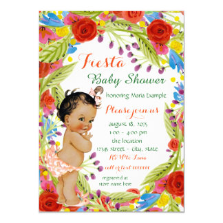Mexican Fiesta Baby Girl Shower 11 Cm X 16 Cm Invitation Card