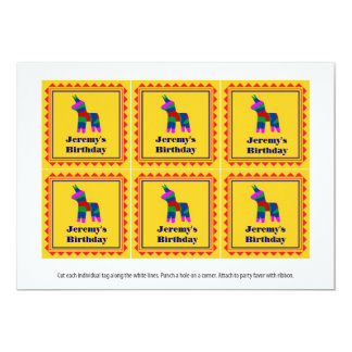 Mexican Fiesta Birthday Party Favor Tags Card