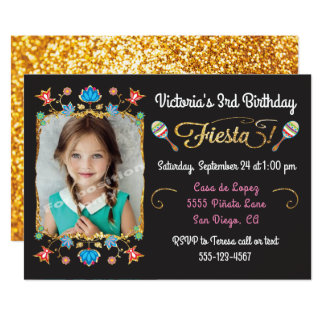 Mexican Fiesta Birthday Party Gold Glitter Photo Card
