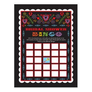 Mexican Fiesta Bridal Shower Bingo game card
