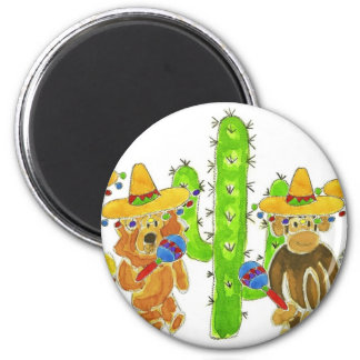 Mexican Fiesta Critters 6 Cm Round Magnet