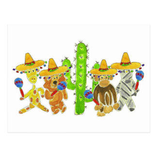 Mexican Fiesta Critters Post Card