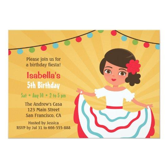 Mexican Fiesta Cute Hispanic Girls Birthday Party Card