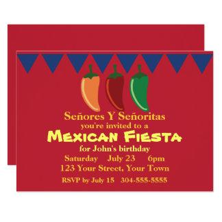 Mexican Fiesta Party 13 Cm X 18 Cm Invitation Card