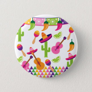 Mexican Fiesta Party Sombrero Saguaro Lime Peppers 6 Cm Round Badge