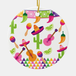 Mexican Fiesta Party Sombrero Saguaro Lime Peppers Round Ceramic Decoration