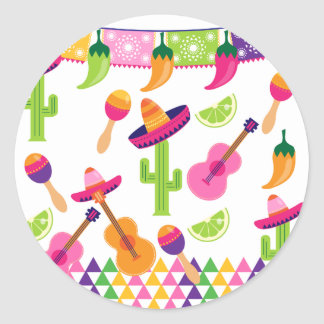 Mexican Fiesta Party Sombrero Saguaro Lime Peppers Round Sticker