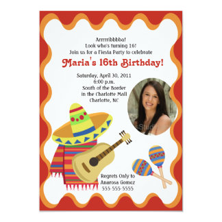 "MEXICAN FIESTA PHOTO BIRTHDAY INVITATIONS 5"" X 7"" INVITATION CARD"