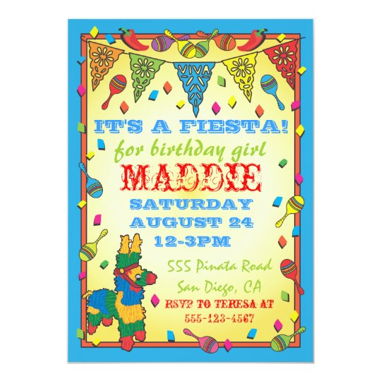 Mexican Fiesta Pinata Birthday Party Invitation