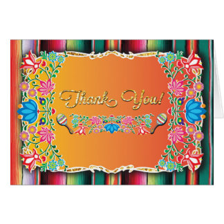 Mexican Fiesta Thank you note card faux glitter