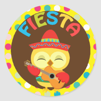 Mexican Fiesta with Cute Owl Round Sticker