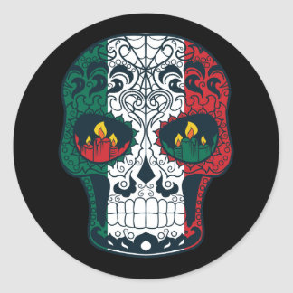 Mexican Flag Colors Day Of The Dead Sugar Skull Classic Round Sticker