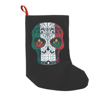 Mexican Flag Colors Day Of The Dead Sugar Skull Small Christmas Stocking