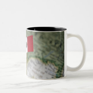 Mexican flag in map Two-Tone coffee mug