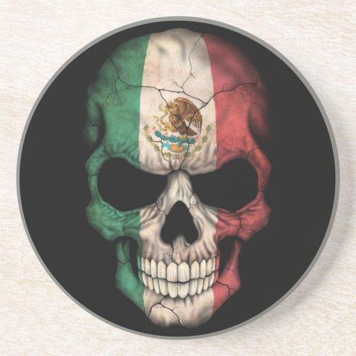 Mexican Flag Skull on Black Coaster