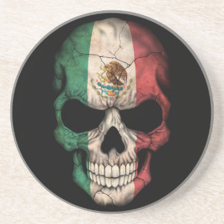 Mexican Flag Skull on Black Drink Coasters