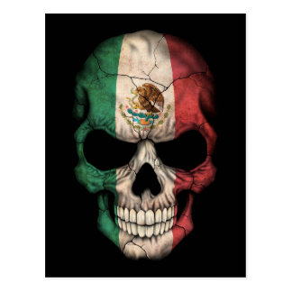 Mexican Flag Skull on Black Postcard