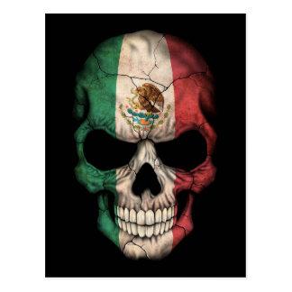 Mexican Flag Skull on Black Postcard