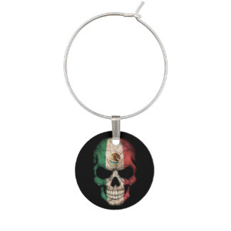 Mexican Flag Skull on Black Wine Charm