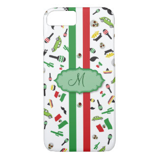 Mexican flag with icons of Mexico iPhone 7 Case