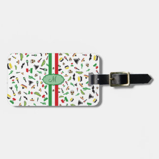 Mexican flag with icons of Mexico Luggage Tag