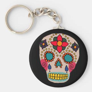 Mexican Folk Art Sugar Skull Basic Round Button Key Ring