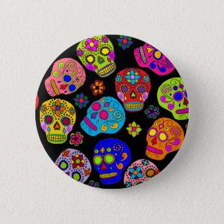 Mexican Folk Art Sugar Skulls 6 Cm Round Badge