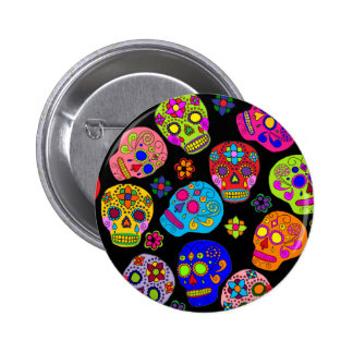 Mexican Folk Art Sugar Skulls 6 Cm Round Badge