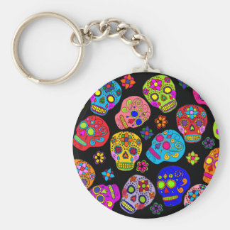 Mexican Folk Art Sugar Skulls Basic Round Button Key Ring