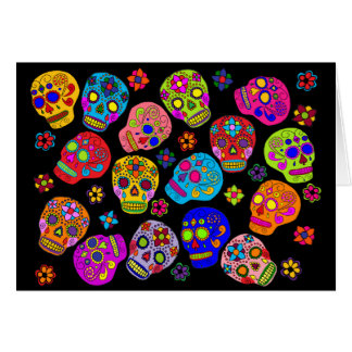 Mexican Folk Art Sugar Skulls Greeting Card