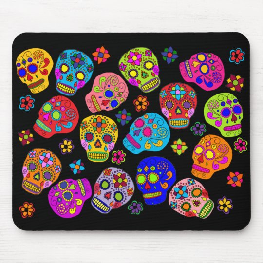 Mexican Folk Art Sugar Skulls Mouse Mat