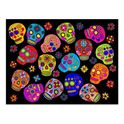 Mexican Folk Art Sugar Skulls Post Cards