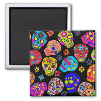 Mexican Folk Art Sugar Skulls Square Magnet