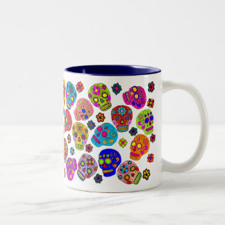 Mexican Folk Art Sugar Skulls Two-Tone Coffee Mug