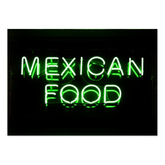 MEXICAN FOOD - Green Neon Sign Pack Of Chubby Business Cards