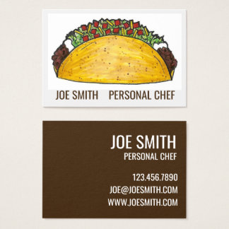 Mexican Food Taco Personal Chef Business Cards