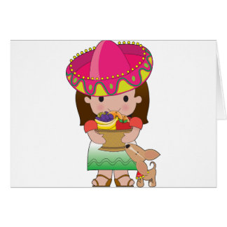 Mexican Girl and Dog Greeting Card