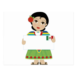 Mexican Girl Sign Postcard