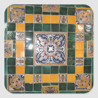 Mexican Green Talavera Style Tile work Square Sticker