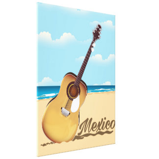 Mexican Guitar Beach travel poster Canvas Prints