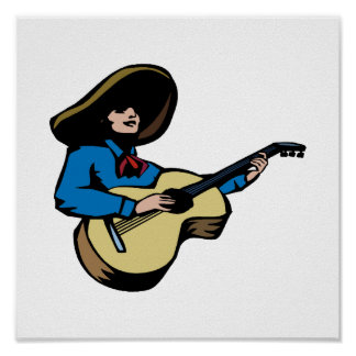 mexican guitar player blue.png print