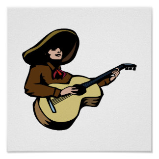 mexican guitar player brown.png print