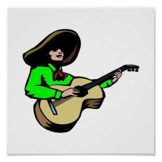 mexican guitar player green.png poster