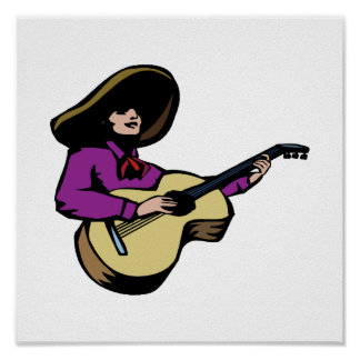 mexican guitar player purple.png poster
