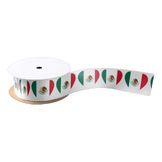 Mexican heart flag Satin Ribbon