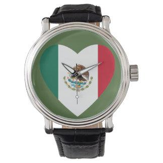 Mexican Heart Flag wrist watch