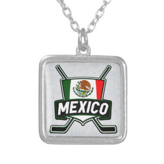 Mexican Ice Hockey Flag Pendant, Mexico Silver Plated Necklace