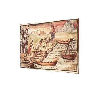Mexican Indian boatbuilders Canvas Print