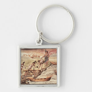 Mexican Indian boatbuilders Silver-Colored Square Key Ring