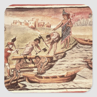 Mexican Indian boatbuilders Square Sticker